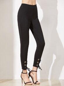 Schwarze Eyelet schnüren sich oben Hem Tailored Peg Pants