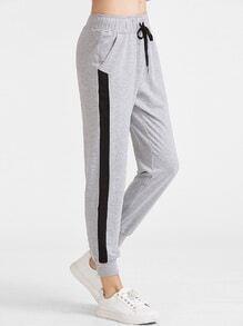 Heather Grey-Kontrast-Panel-Tunnelzug-Sweatpants