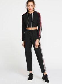 Schwarze Seite gestreifte Drawstring Taille Sweatpants