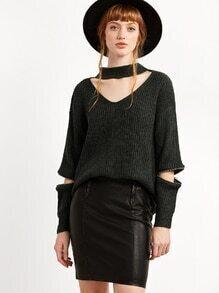 Cut-Outs Pullover mit Reißverschluss -dunkel grün