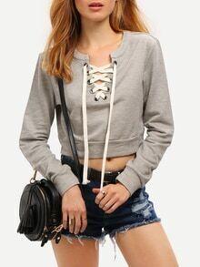 kurzes Sweatshirt mit Schnürung - grau