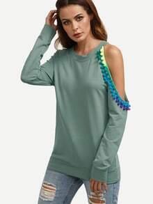 asymmetrisches Sweatshirt mit Bommel Detail - grün