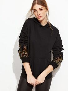 Kapuzensweatshirt mit Taschen Drop Schulter Flamme drucken-schwarz