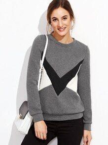 Sweatshirt Fischgrätmuster-kontrastfarbe