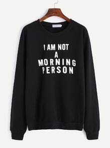 Sweatshirt Slogan Druck-schwarz