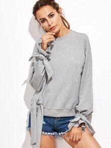 Sweatshirt mit Schleife Detail Schneiden und nähen-hell grau