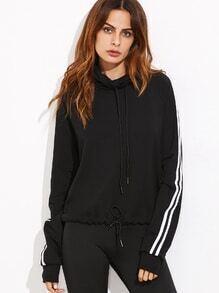 Sweatshirt mit Tunnelzug Saum Streiften Umlegekragen  schwarz