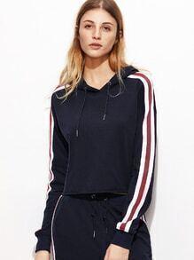 Kapuzensweatshirt mit Streifen Schnittkante-marine