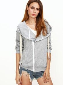 Sweatshirt mit Übergroße Kapuzen Asymmetrische Reißverschluss -hell grau