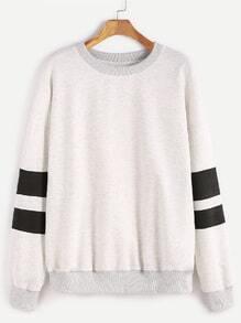 Sweatshirt mit Streifen Ärmel Drop Schulter-hell grau