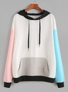 Kapuzensweatshirt mit Taschen Drop Schulter -kontrastfarbe