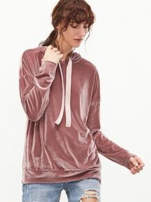 Kapuzensweatshirt Samt Drop Schulter Reißverschluss Schlitz Seit-rosa