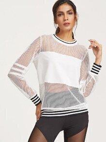 Weißes gestreiftes Ordnungs-Fischnetz-Sweatshirt