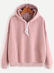 Rosa mit Kapuze-Tropfen-Schulter-Sweatshirt