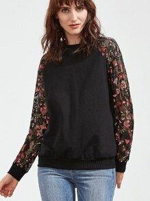 Sleeve Sweatshirt mit Blumenspitze