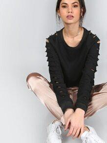 Schwarz Raglan-Ärmel Ripped Sweatshirt