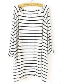 loses T-Shirt mit Streifen, weiß/schwarz