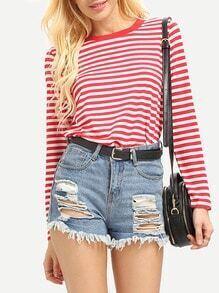 T-Shirt Langarm mit Streifen - rot und weiß