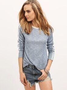 T-Shirt Rundhals mit Kontrastfarben - blau