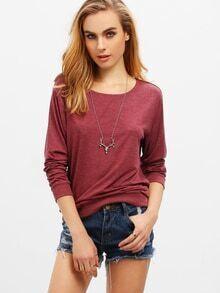 Lose T-Shirt Rundhals - burgund rot