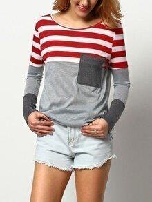 Lose T-Shirt mit Streifen - rot und grau