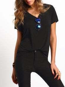 T-Shirt kurzarm mit V-Ausschnitt lässig -schwarz