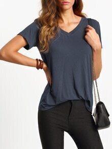 T-Shirt kurzarm mit V-Ausschnitt lässig -dunkel grau