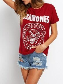 T-Shirt Rundhals mit Buchstaben druck lässig -weinrot