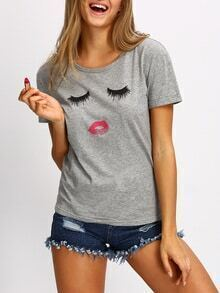 T-Shirt kurzarm mit Cartoon Druck lässig -grau