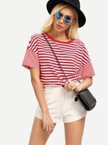 Kurzarm T-Shirt mit Streifen lässig -rot und weiß