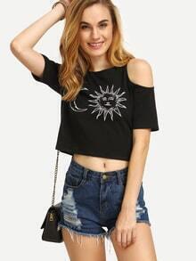 Crop T-Shirt kurzarn mit Schulteraussparung und Druckmuster