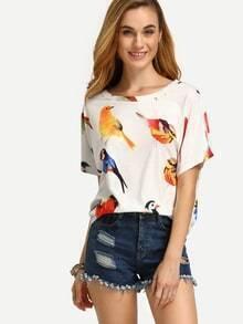 Kurzarm T-Shirt mit All-Over-Vogel Druck lässig