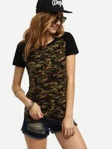Kurzarm T-Shirt mit Tarndruck lässig