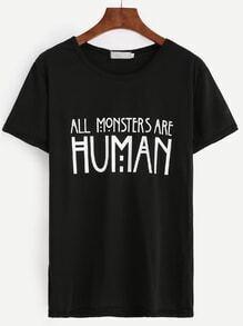 T-Shirt mit Buchstaben Druck - schwarz