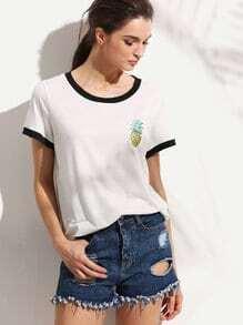 T-Shirt Kurzarm mit Ananas Druck -  weiß