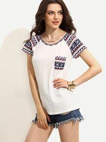 T-Shirt Kurzarm mit Druck - weiß