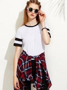T-Shirt Kurzarm mit Streifen - weiß