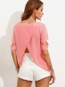 T-Shirt mit Schlitz am Rücken - rosa