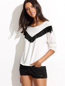 T-Shirt Langarm mit Franse Saum - weiß