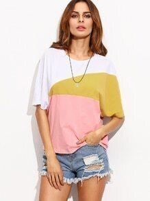 T-Shirt kurzarm rundhals - kontrastfarbig