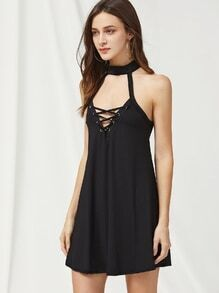 Eyelet Lace Up Front Keyhole Back Halter Dress