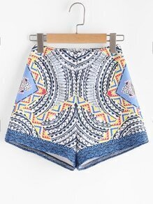 Tribal Print Zipper Back Shorts