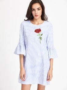 Fluted Sleeve Vertical Striped Rose Embroidered Dress