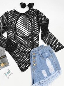Open Back Fishnet Bodysuit