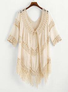 Crochet Paneled Tassel Hem Self Tie Kimono