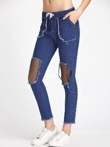 Destroyed Fishnet Insert Fray Hem Drawstring Waist Jeans