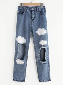 Cloud Print Distressed Jeans