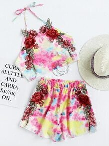 Water Color Rose Applique Crop Top With Shorts