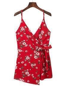 Cami Straps Floral Warp Playsuit
