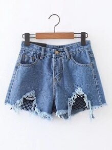 Contrast Mesh Raw Hem Denim Shorts